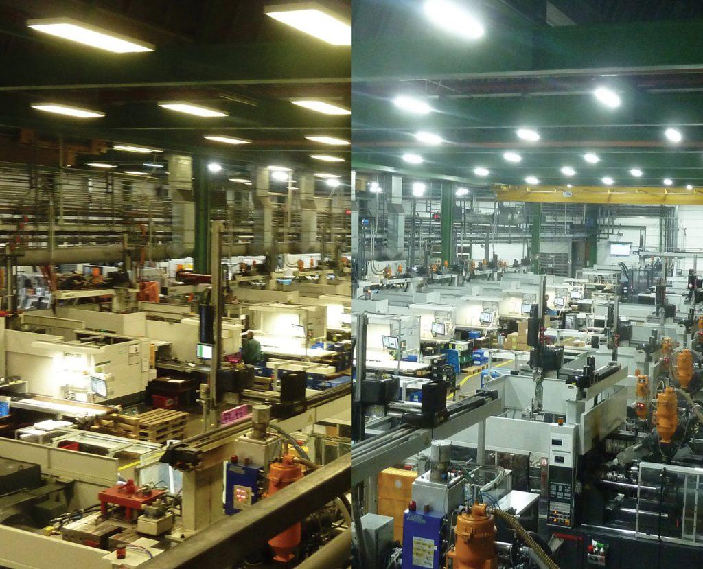 Beleuchtungssituation bei GEALAN Formteile GmbH - vorher-nachher